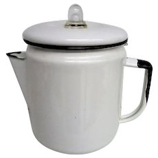 White Enameled Metal Coffee Pot with black trim