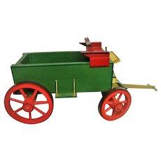 Colorful Wooden Hand Made Farm Buckboard Wagon