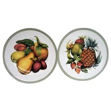 Two Fitz and Floyd Fruit decorated Plates