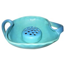 Van Briggle Two Handled Bowl with Flower Frog