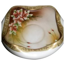 Hand Painted Floral Nippon Crimped Bowl