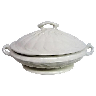 English White Ironstone Covered Vegetable Two Handled Bowl