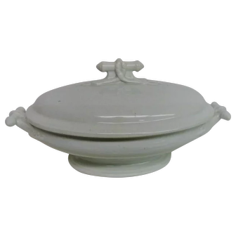 English White Ironstone Oval Two Handled Covered Vegetable Bowl