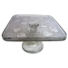 Square Early American Pattern Glass Ivy In The Snow Cake Stand