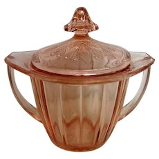 Pink Adam Depression Glass Sugar with Lid
