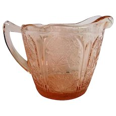 Pink Cherry Blossom Depression Glass Creamer