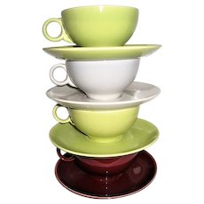 Four Universal Pottery Ballerina Cups and Saucers