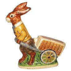 Hand Painted Folk Art Valliancourt Bunny Rabbit Pulling A Cart