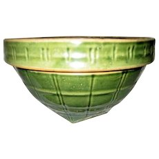 McCoy Green Yellow Ware Window Pane Mixing Bowl