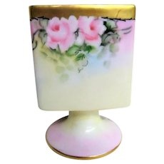 Hand Painted Pink Rose Decorated Porcelain Footed Cigarette Holder