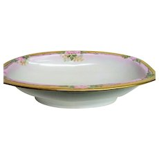 Hand Painted Pink Rose Decorated Porcelain Open Vegetable Bowl