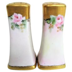 Pair of Hand Painted Pink Rose Decorated Porcelain Salt and Pepper Shakers
