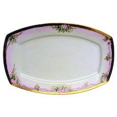 Hand Painted Pink Rose Huge Porcelain Platter