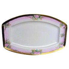 Hand Painted Pink Rose Porcelain Large Platter