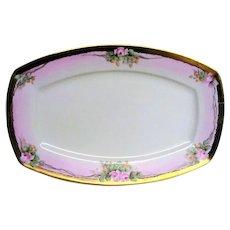 Hand Painted  Porcelain Pink Rose Medium Platter