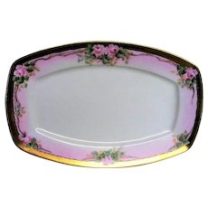 Hand Painted Porcelain Pink Rose Small Platter
