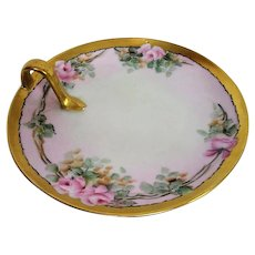 Hand Painted Porcelain Rose Decorated Handled lemon Dish