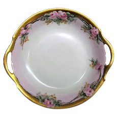 Hand Painted Rose Porcelain Two Handled Bowl