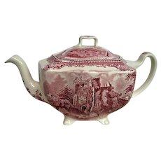 Johnson Brothers Red Transferware Old Britain Castles Tea Pot