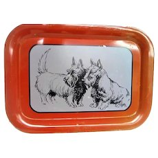 Metal Litho Scottie Scotty Dog Tray Red Trim