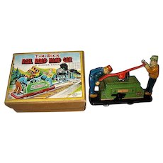 Tom & Dick Rail Road Hand Car Metal Wind Up Toy in Original Box