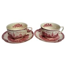 Two Red Transferware Old Britain Castles Johnson Brothers cups and saucers