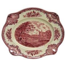 Red Transferware Johnson Brothers Old Britain Castles Scalloped Edge Platter