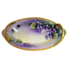 Hand Painted Limoges Violet Two Handled Dish
