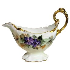 Hand painted Limoges Footed Violet Decorated Sauce Boat