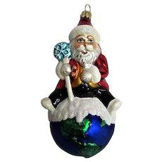 Christopher Radko Santa on top of the world Blown Ornament