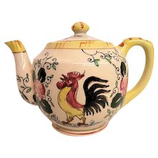 Hand Painted Rooster and Roses Tea Pot