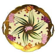 Hand Painted Pickard Two Handled Tulip Cake Plate