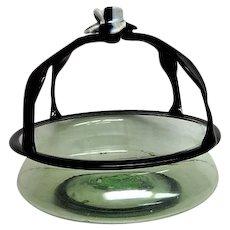 Hand Blown Venetian Handled Glass Basket Candy Dish