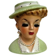 Sweet Inarco Green Dress and Hat Lady Head Vase