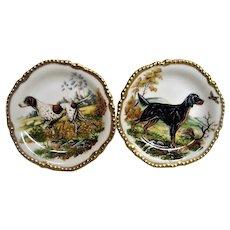 Two Wonderful Hunting Dog Porcelain Plates
