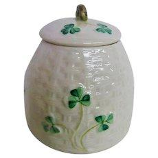 Vintage Shamrock Decorated Belleek Honey Pot