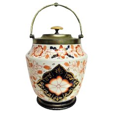 Colorful Hand Painted Gaudy Welsh Handled Biscuit Jar