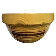 Large Yellow Ware Brown Band Mixing Bowl