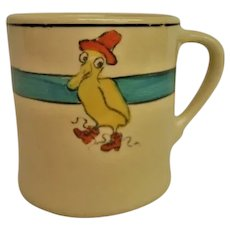 Roseville Pottery Childs Duck Decorated Mug