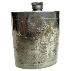 Sheffield England Pewter Hunt Decorated Flask
