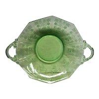 Stunning Green Rosalie Handled Elegant Depression Glass Bowl