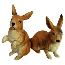 Pair of Brown Lefton Porcelain Bunnies Rabbits