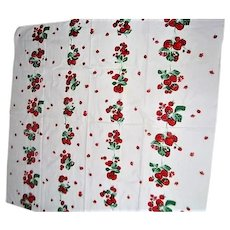 Vintage Red Strawberry Printed Tablecloth by Startex