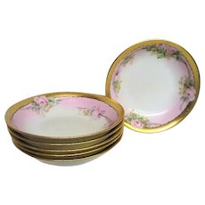 Six Hand Painted Rose Decorated Dessert Bowls