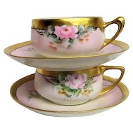 Two Fantastic Hand Painted Rose Decorated Cups and Saucers