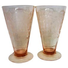 Two Pink Footed Tiffin Flanders Decorated Ice Tea Goblets