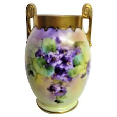 Hand Painted Artist Signed Pickard Violet Handled Vase