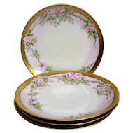 Four Hand Painted Rose Decorated Porcelain plates