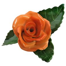 Stunning Herend Orange Rose with Green Leaves Figurine
