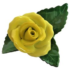 Great Yellow Herend Rose with Green Leaves Figurine
